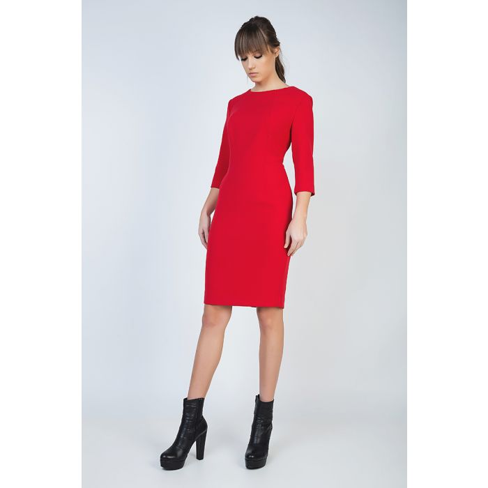 Image for Fitted Red Dress in Crepe Fabric