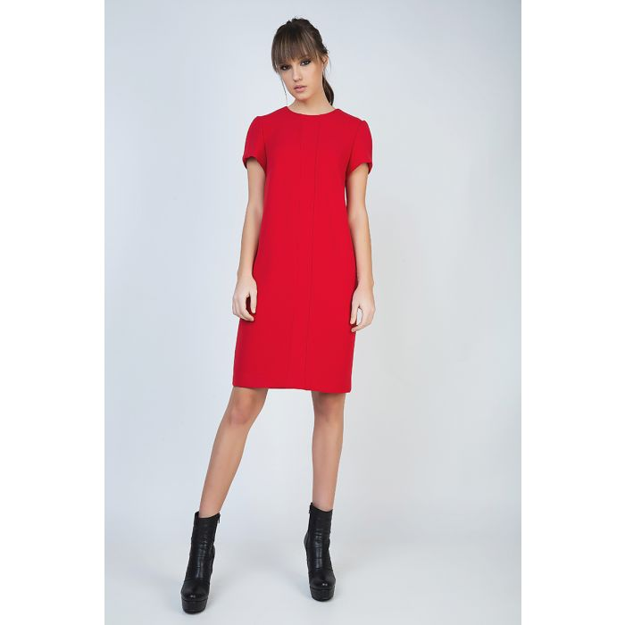 Image for Short Sleeve Red Dress with Panel Detail