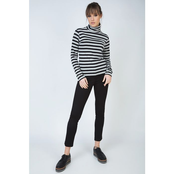 Image for Striped Black and Grey Polo Neck Jumper
