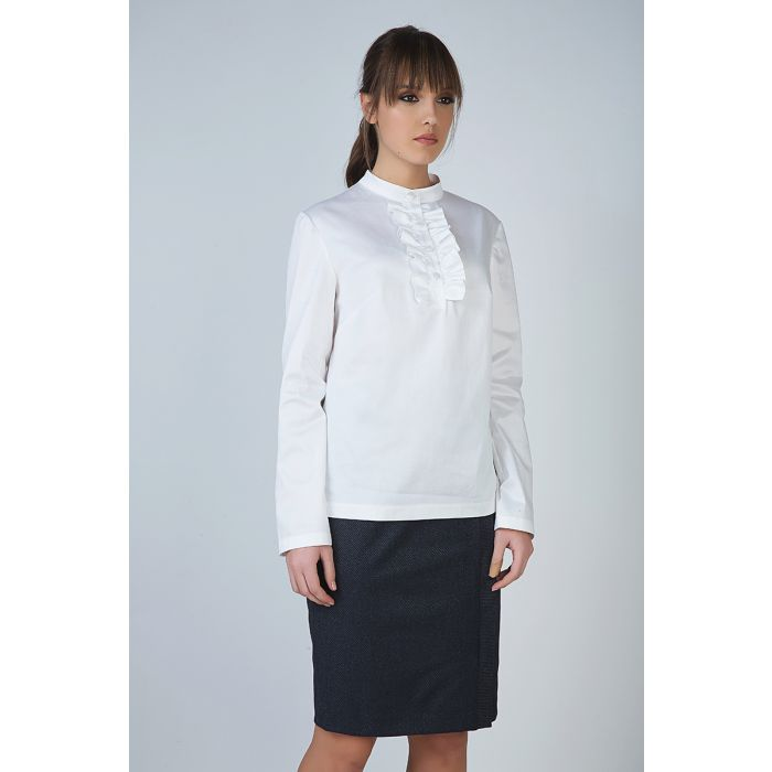 Image for White Frill Detail Blouse in Poplin Fabric