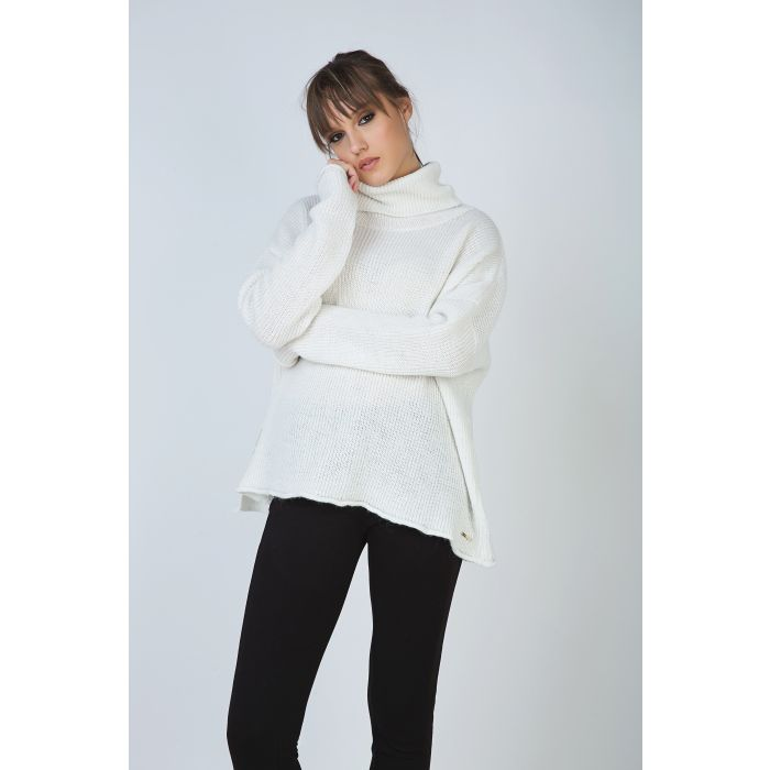 Image for Ecru Oversized Turtle Neck Knit Pullover with Side Slit by Conquista Fashion