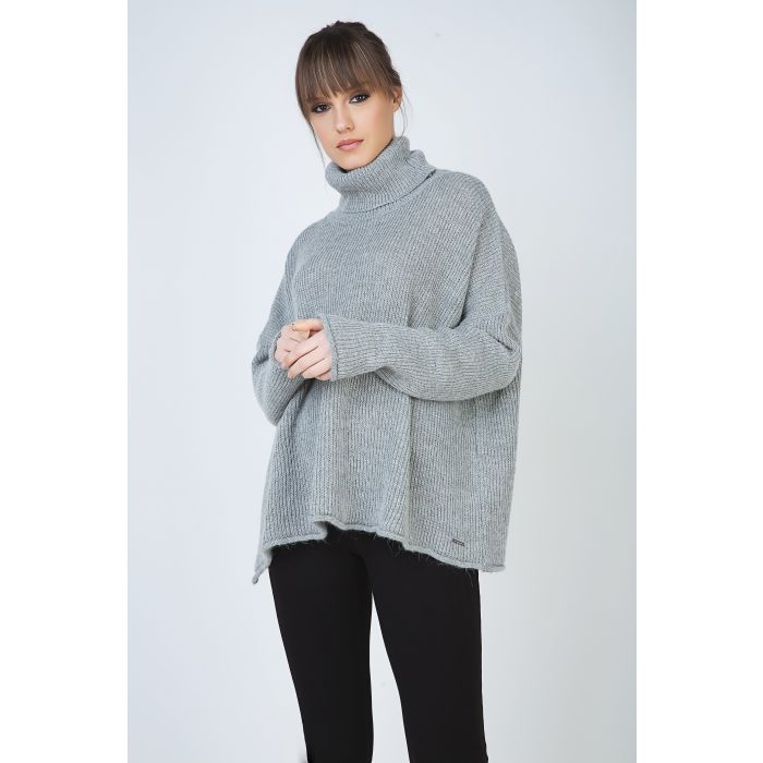 Image for Grey Oversized Turtle Neck Knit Pullover with Side Slit by Conquista Fashion