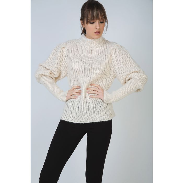 Image for Turtle Neck Pullover with Balloon Sleeves and Long Rib Cuffs by Conquista Fashion