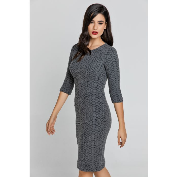 Image for Dark Grey Jacquard Dress By Conquista