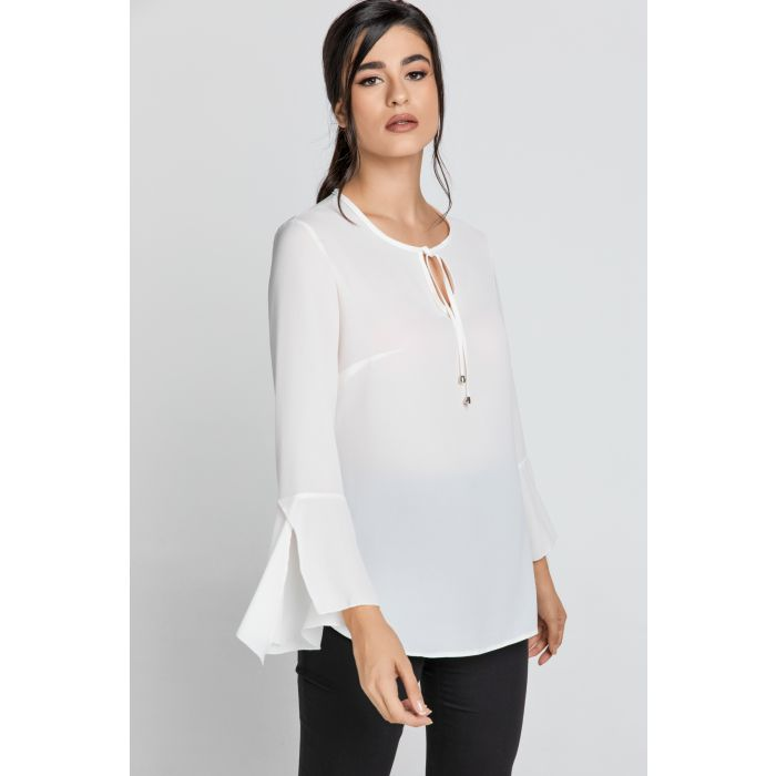 Image for Ecru Flounce Sleeve Top by Conquista