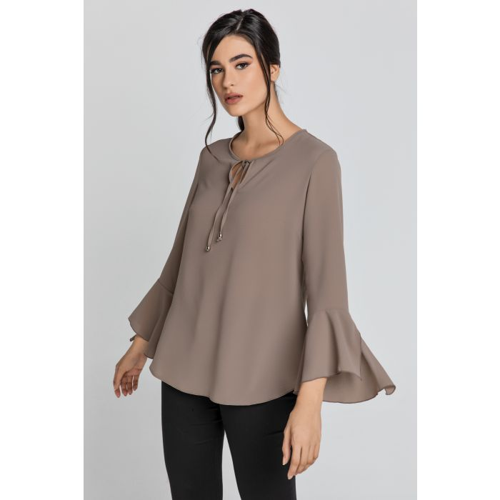 Image for Iron Brown Flounce Sleeve Top by Conquista
