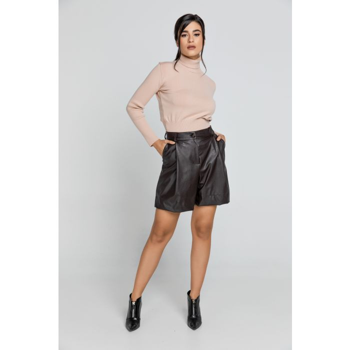 Image for Brown Faux Leather Bermuda Shorts by Conquista Fashion