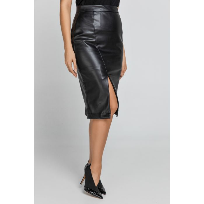Image for Black Faux Leather Pencil Skirt by Conquista Fashion