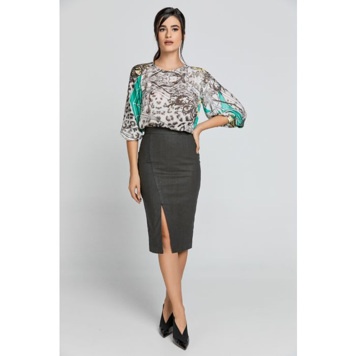 Image for Dusty Green Pencil Skirt by Conquista Fashion