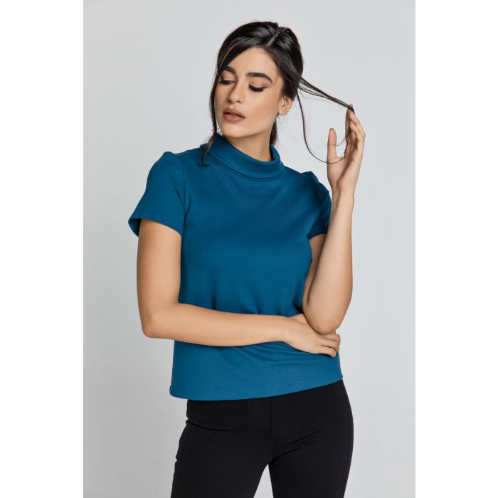 Image for Short Sleeve Petrol Blue Top