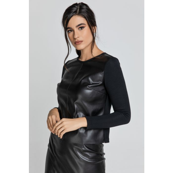 Image for Black Top with Faux Leather Front
