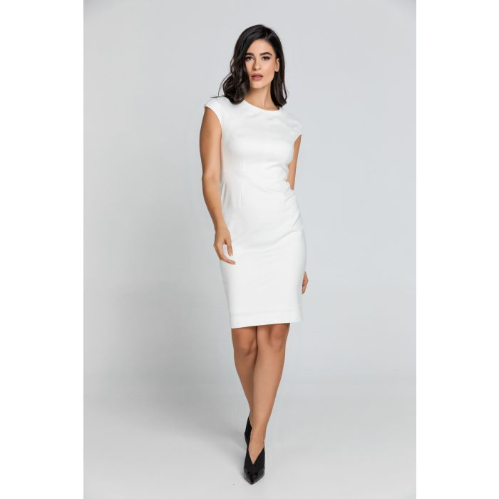 Image for Fitted Ecru Dress with Cap Sleeves