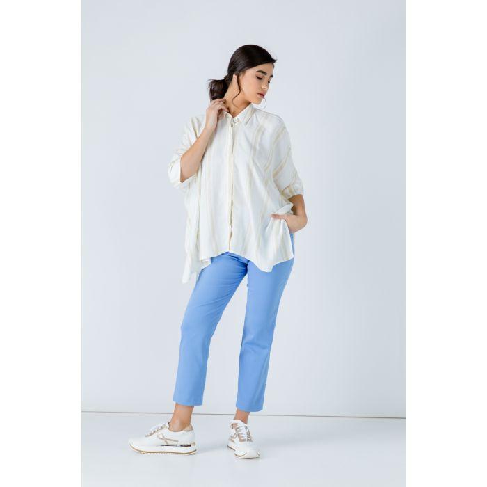 Image for Oversized Short Sleeve Striped Blouse