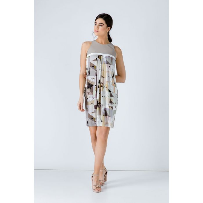 Image for A Line Beige Print Dress
