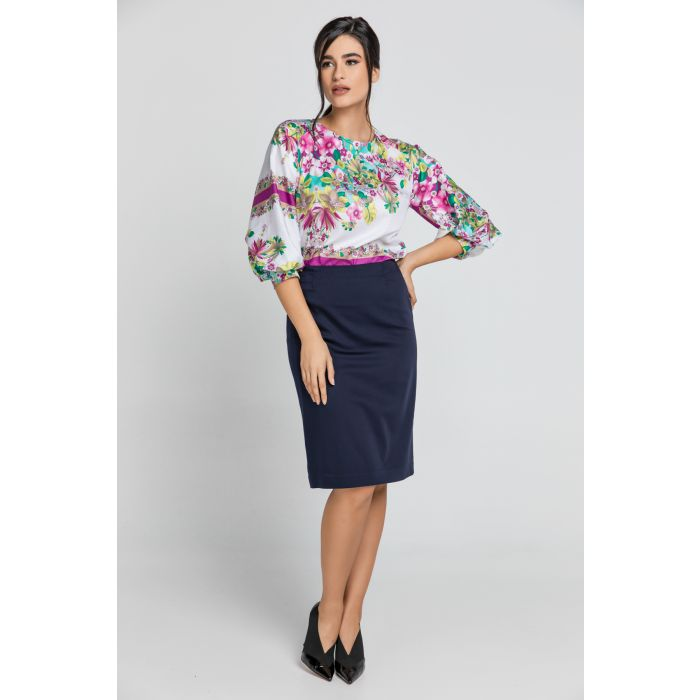 Image for Floral Print Top with Bishop Sleeves