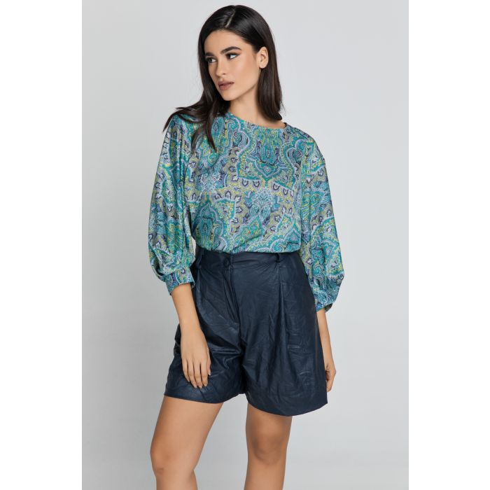 Image for Blue Paisley Print Top with Bishop Sleeves
