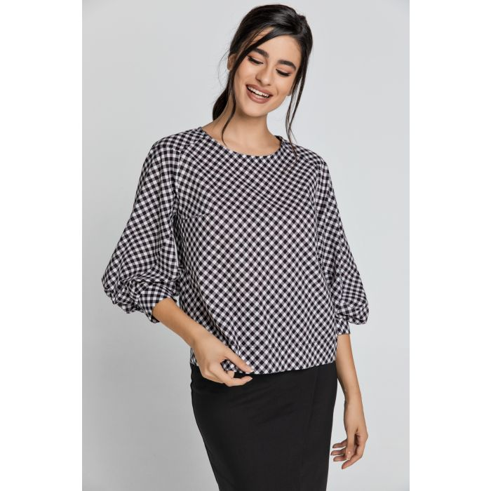 Image for Black & White Check Top with Bishop Sleeves