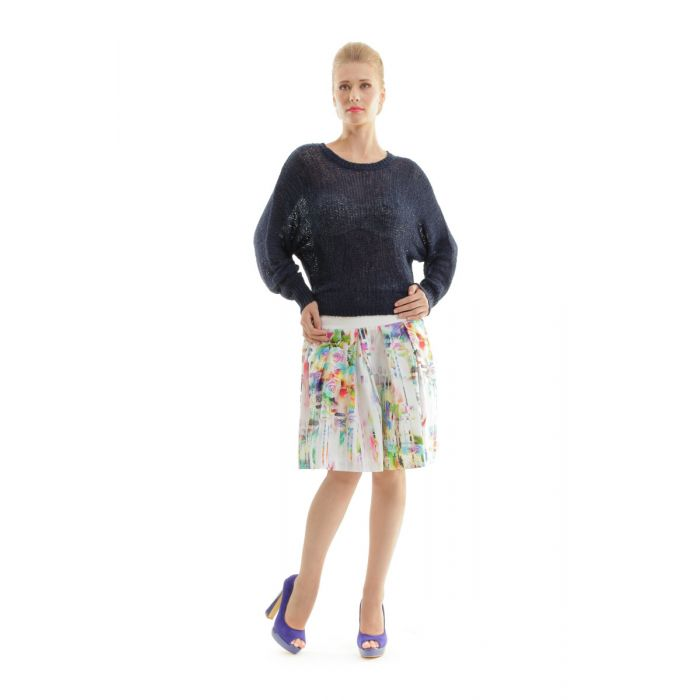 Image for Cotton Pleated Printed Skirt