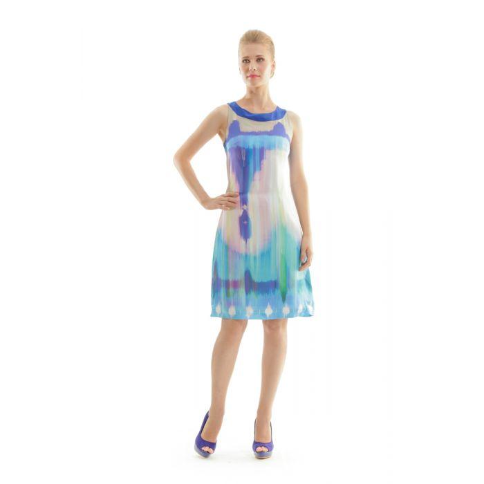Image for Print Sleeveless Dress beige