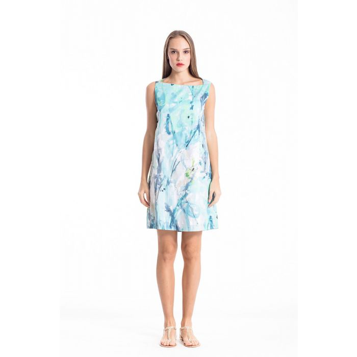 Image for A Line Print Poplin Dress