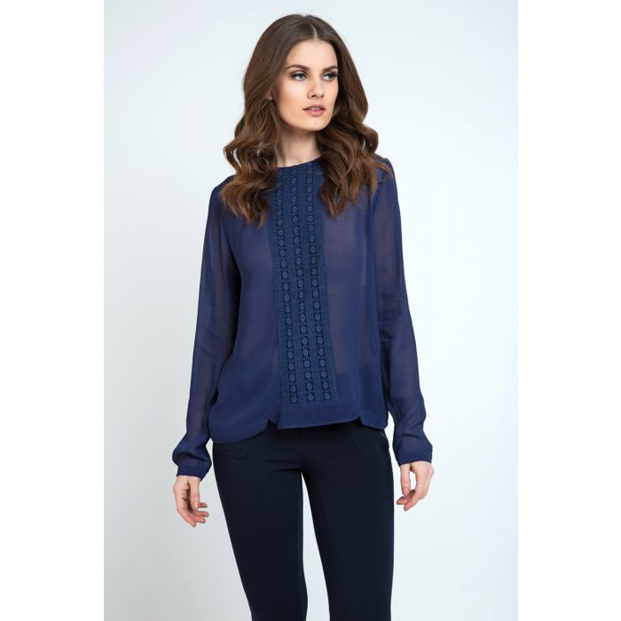Image for Sheer Ethnic Style Top Navy