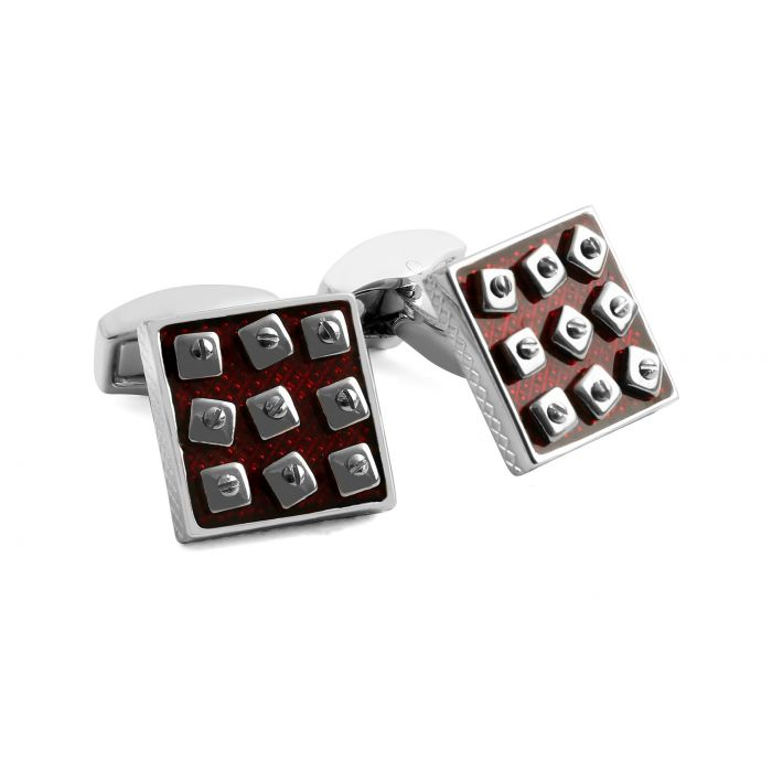 Image for Rhodium  Enamel  Red  Swivel Square