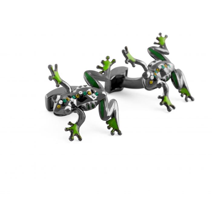 Image for Gun Metal Plated  Enamel  Greens  Swarovskiski  Moving arms and legs  FROG