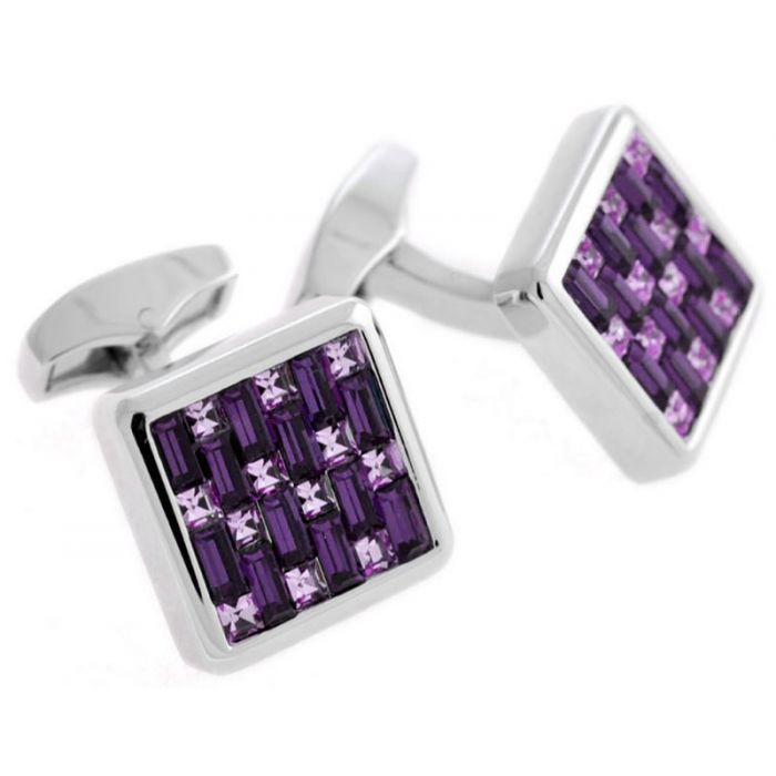 Image for Purple square interlock cufflink
