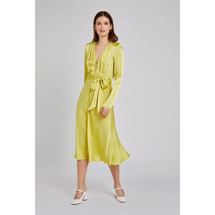 Image for Meryl Lime Green Satin Dress