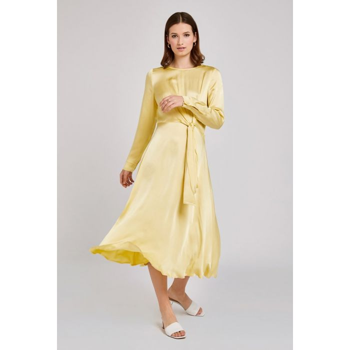 Image for Mindy Lemon Satin Dress