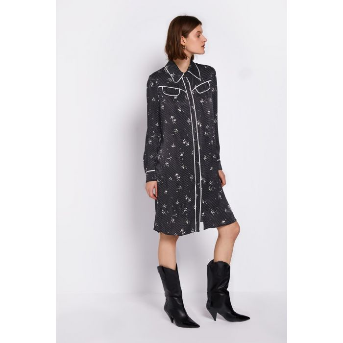 Image for Harriet Black Dot Daisy Print Dress