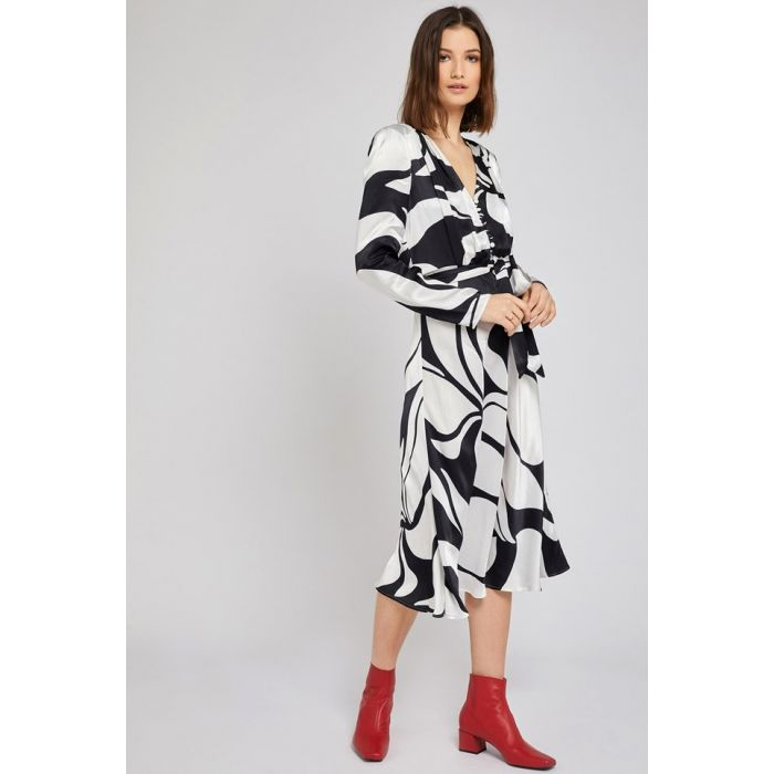 Image for Meryl Abstract Print Satin Dress