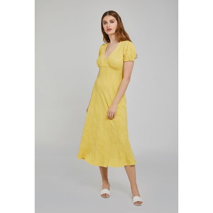 Image for Poet Lemon Embriodered Crepe Dress