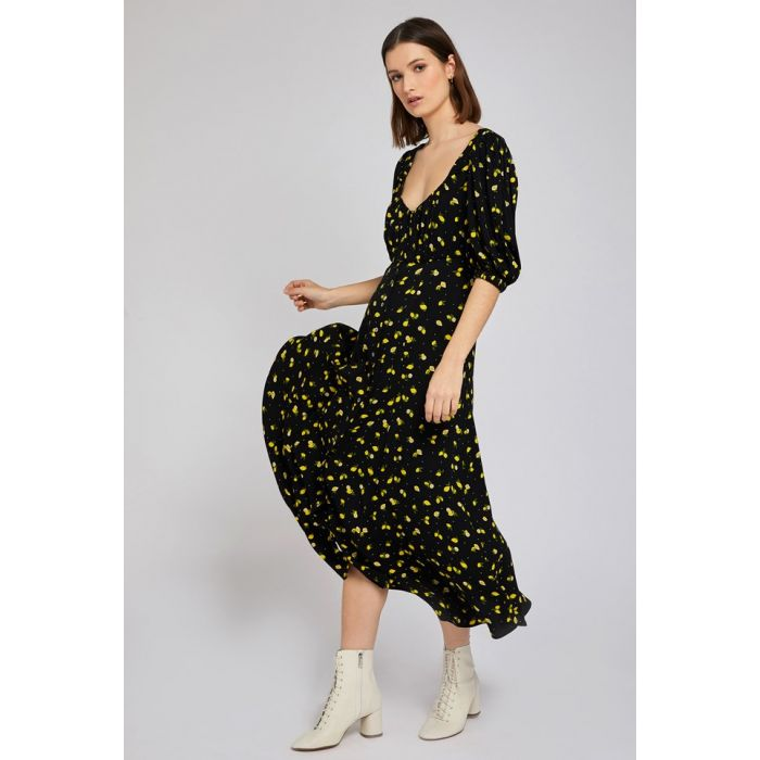 Image for Alice Lemon Print Black Crepe Dress