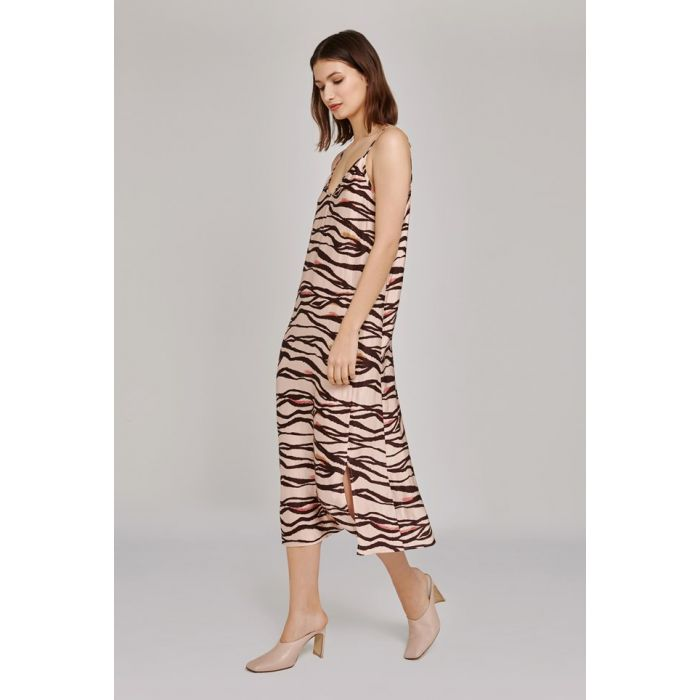 Image for Heidi Zebra Print Satin Dress