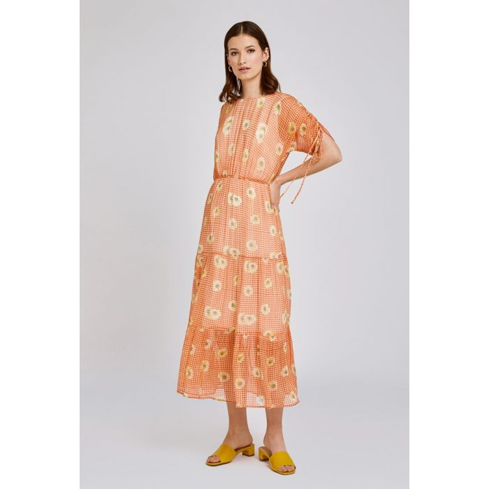 Image for Sadie Gingham Daisy Print Georgette Dress