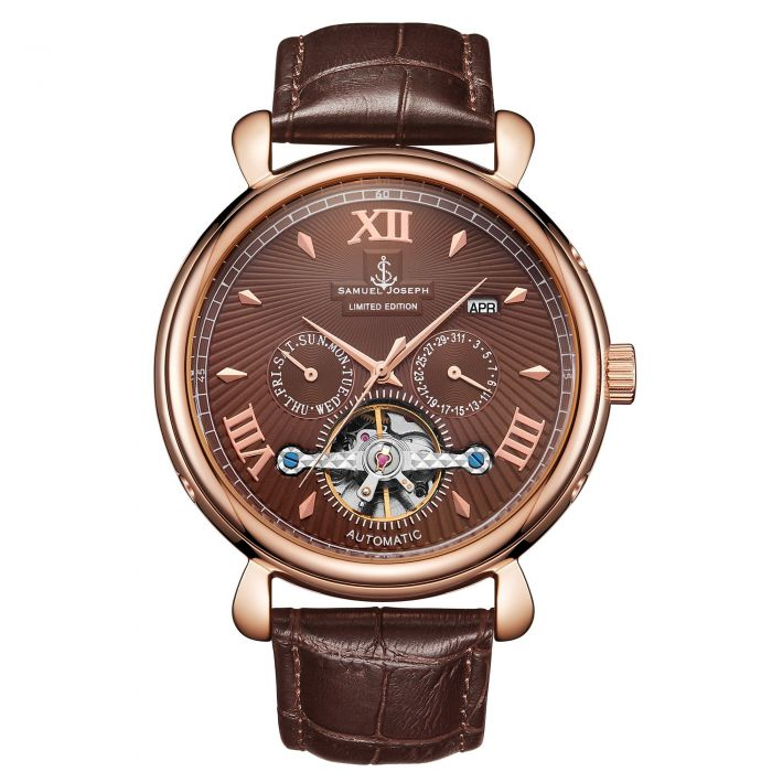 Image for Samuel Joseph Limited Edition Rose & Brown Automatic Designer Mens Watch