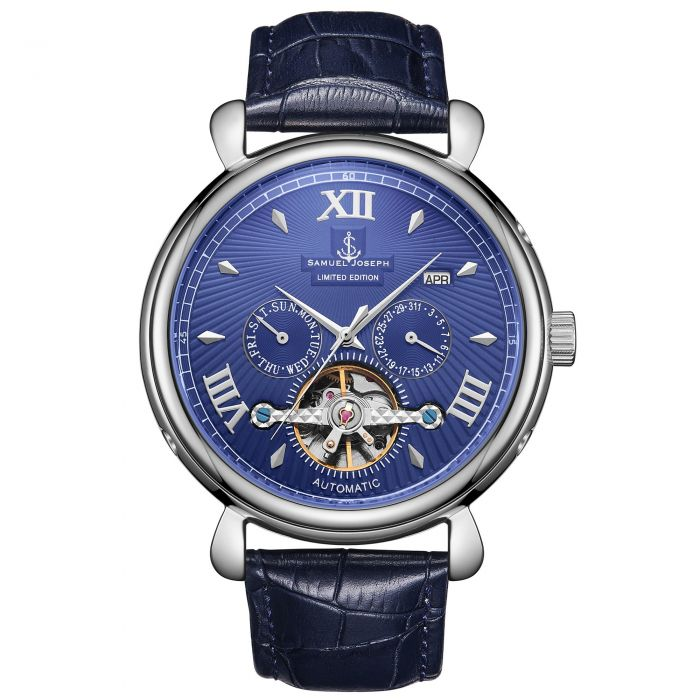 Image for Samuel Joseph Limited Edition Steel & Blue Automatic Designer Mens Watch