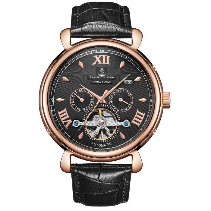 Image for Samuel Joseph Limited Edition Rose & Black Automatic Designer Mens Watch