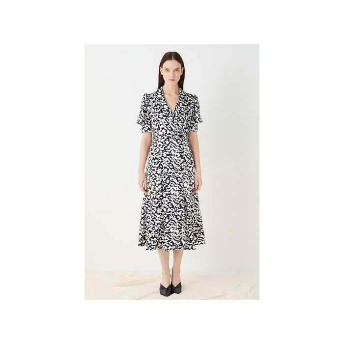 Image for Elizabeth Printed Satin Wrap Dress - multicolour