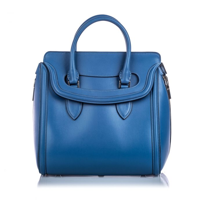 Image for Vintage Alexander McQueen Large Leather Heroine Handbag Blue