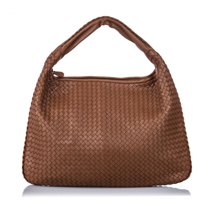 Image for Vintage Bottega Veneta Maxi Intrecciato Leather Hobo Bag Brown