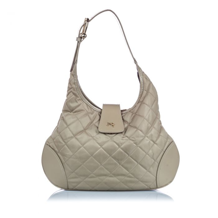 Image for Vintage Burberry Quilted Nylon Brooke Hobo Bag Gray