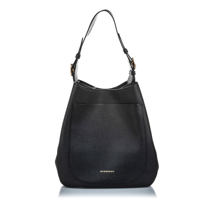 Image for Vintage Burberry Leather Hobo Bag Black