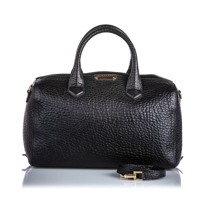 Image for Vintage Burberry Pebbled Leather Satchel Black