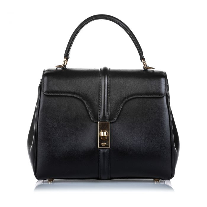 Image for Vintage Celine Leather Small 16 Bag Black