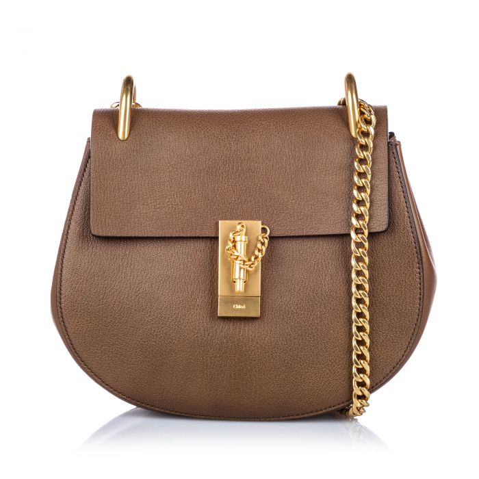 Image for Vintage Chloe Leather Drew Crossbody Bag Brown
