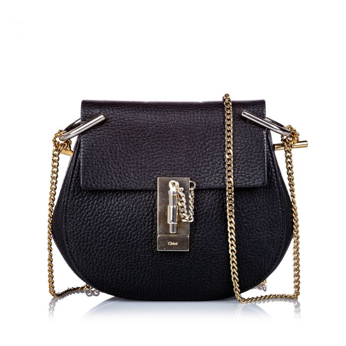 Image for Vintage Chloe Small Grained Leather Drew Crossbody Bag Black