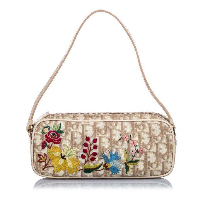 Image for Vintage Dior Oblique Floral Canvas Baguette Brown