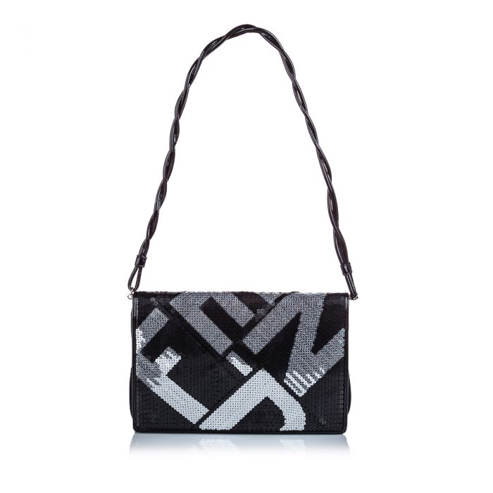 Image for Vintage Fendi Sequined Crossword Shoulder Bag Black